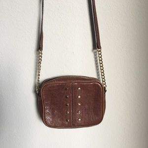 Michael Kors studded brown crossbody small purse